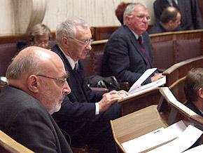 Radni Sejmiku Województwa Śląskiego (od lewej): Marek Trombski, Tadeusz Mazanek i Antoni Piechniczek