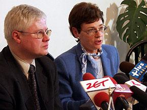 Minister Gospodarki, Pracy i Polityki Społecznej Jerzy Hausner i Podsekretarz Stanu w Ministerstwie Irena Herbst